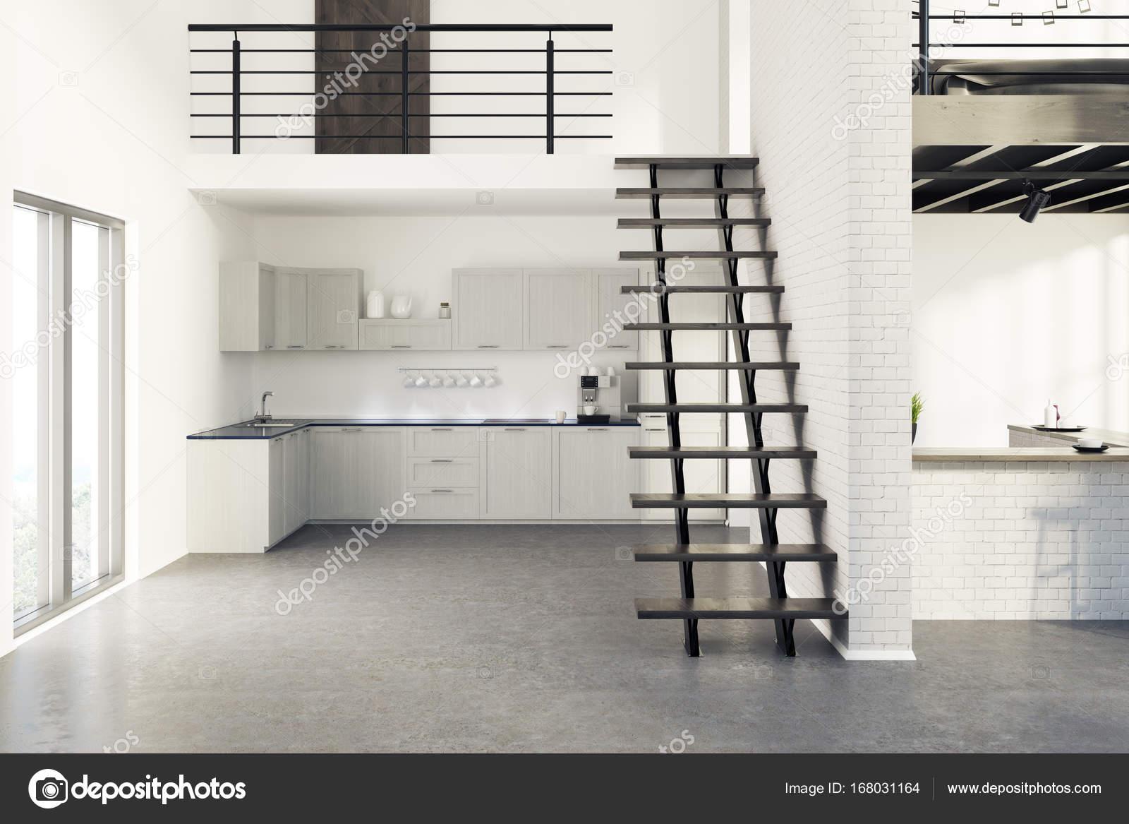 Gemauerte Küche | Weisse Gemauerte Kuche Holzernen Konsolen Grau Stockfoto