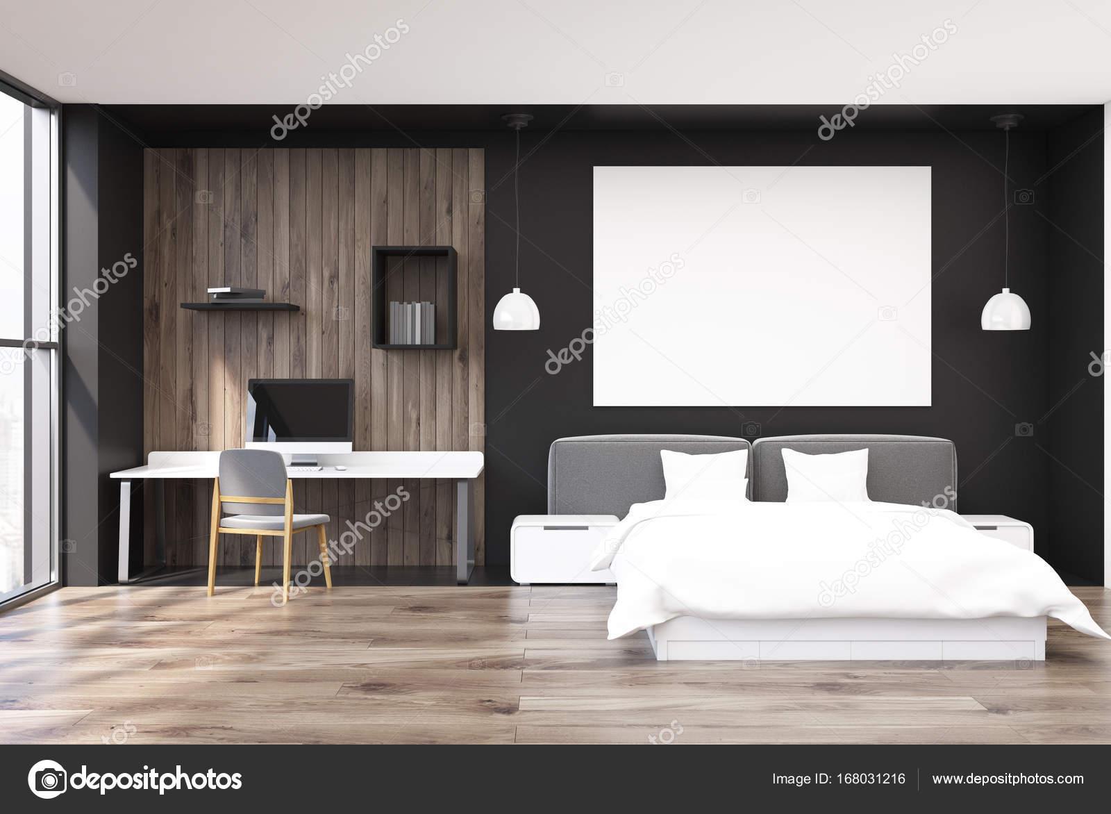 Chambre noire et en bois bureau à domicile u photographie