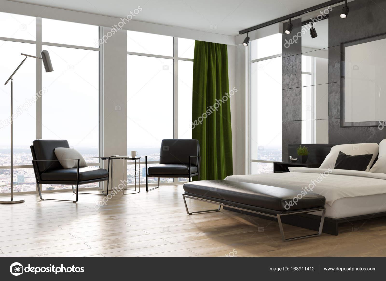 Grijze slaapkamer interieur, poster, hoek — Stockfoto ...