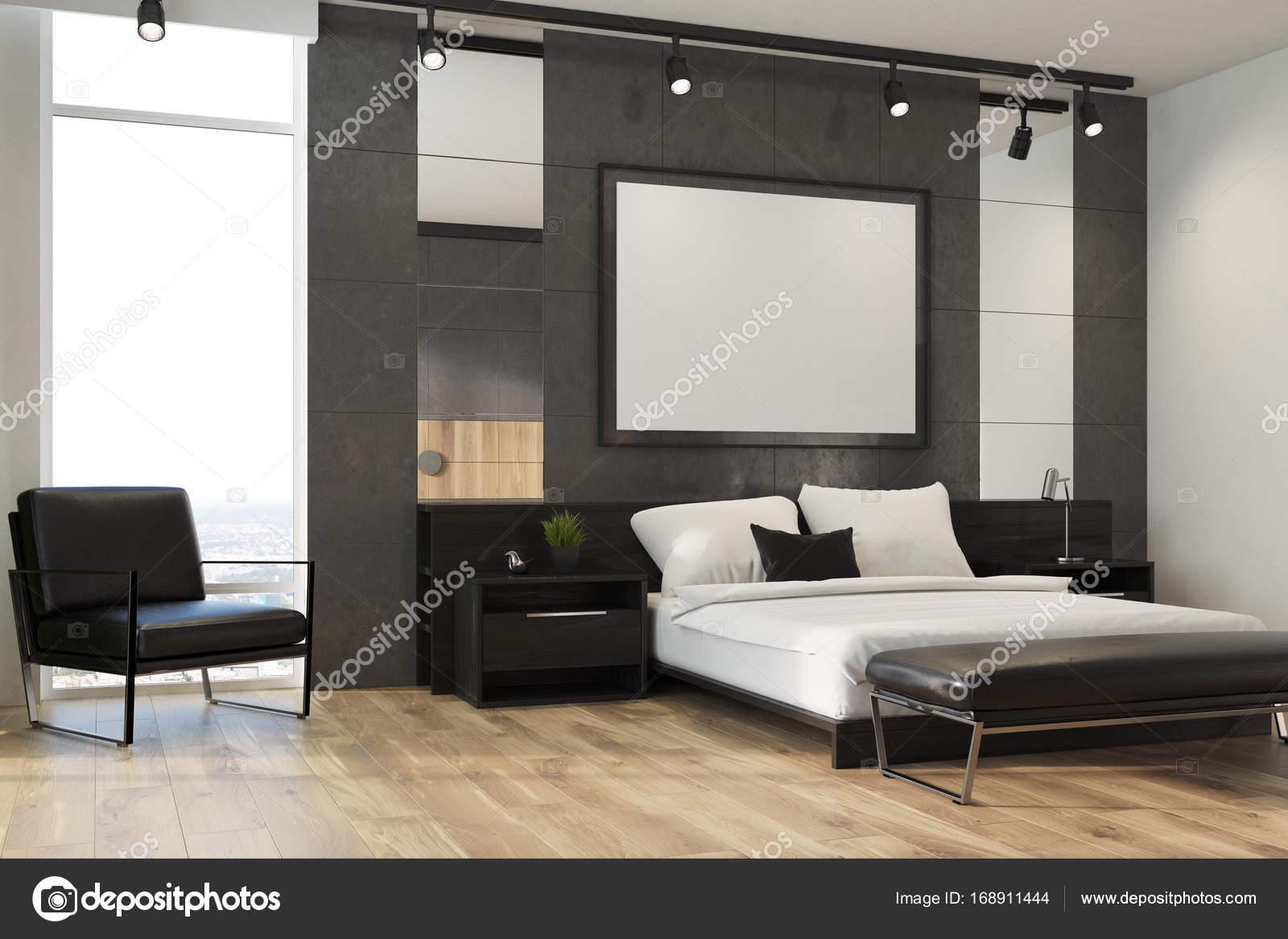 Grijze slaapkamer interieur, poster, leunstoel — Stockfoto ...