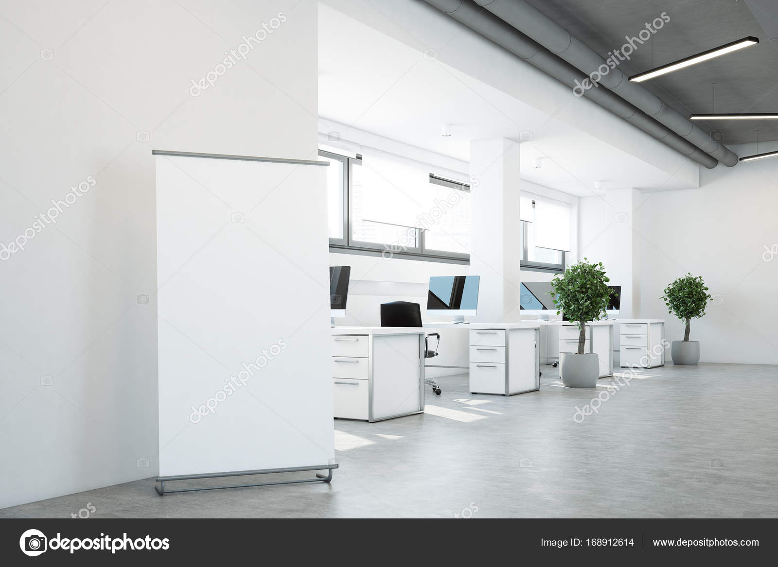 Light conference room or office open space interior vector free