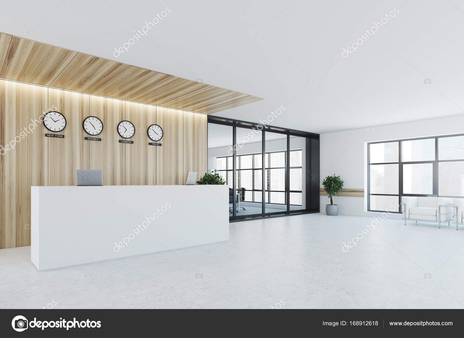 Ufficio Bianco E Legno : Bianca e legno reception sala riunioni lato u foto stock