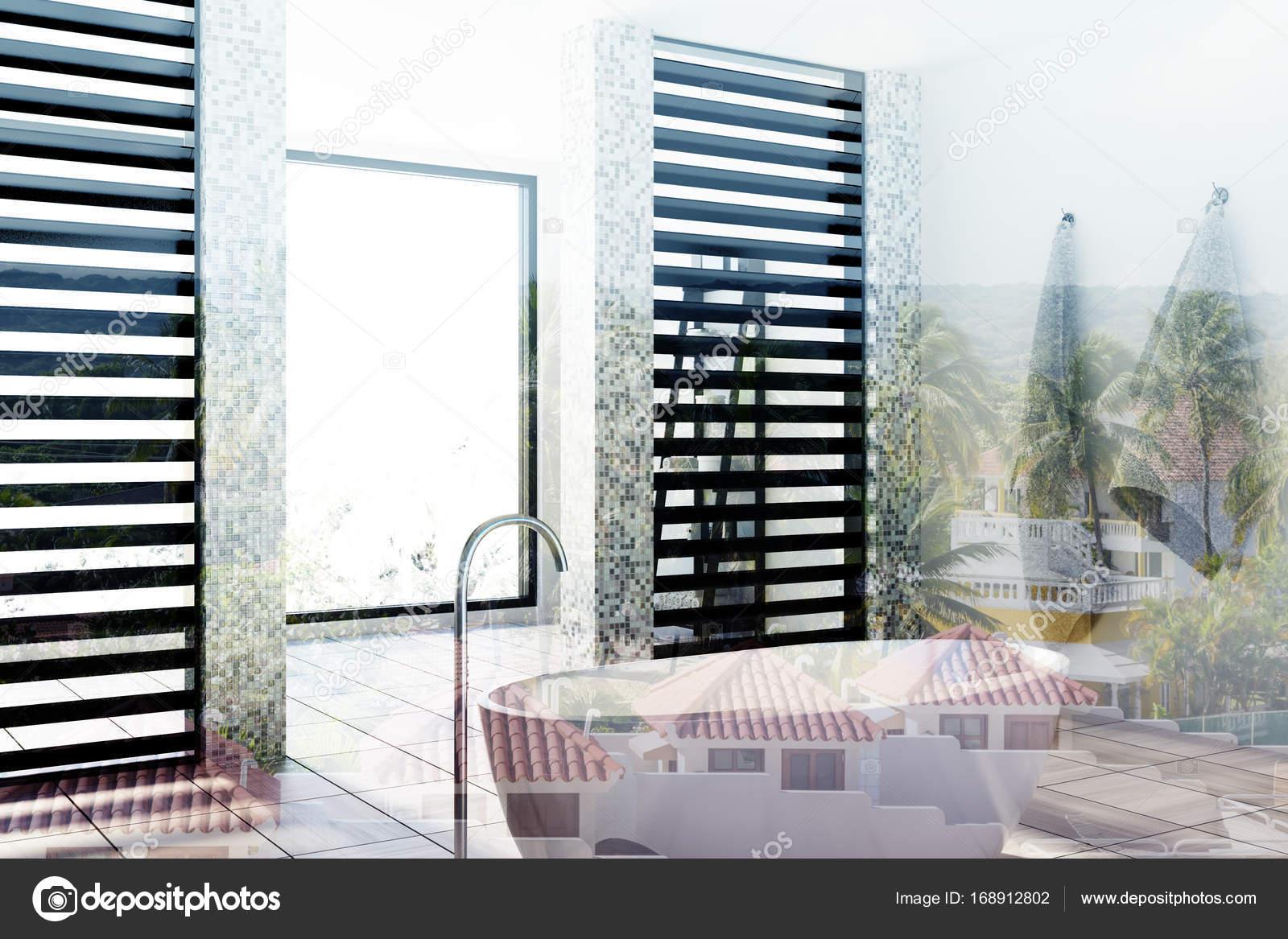 White tiled bathroom, tub, side toned — Stock Photo © denisismagilov ...