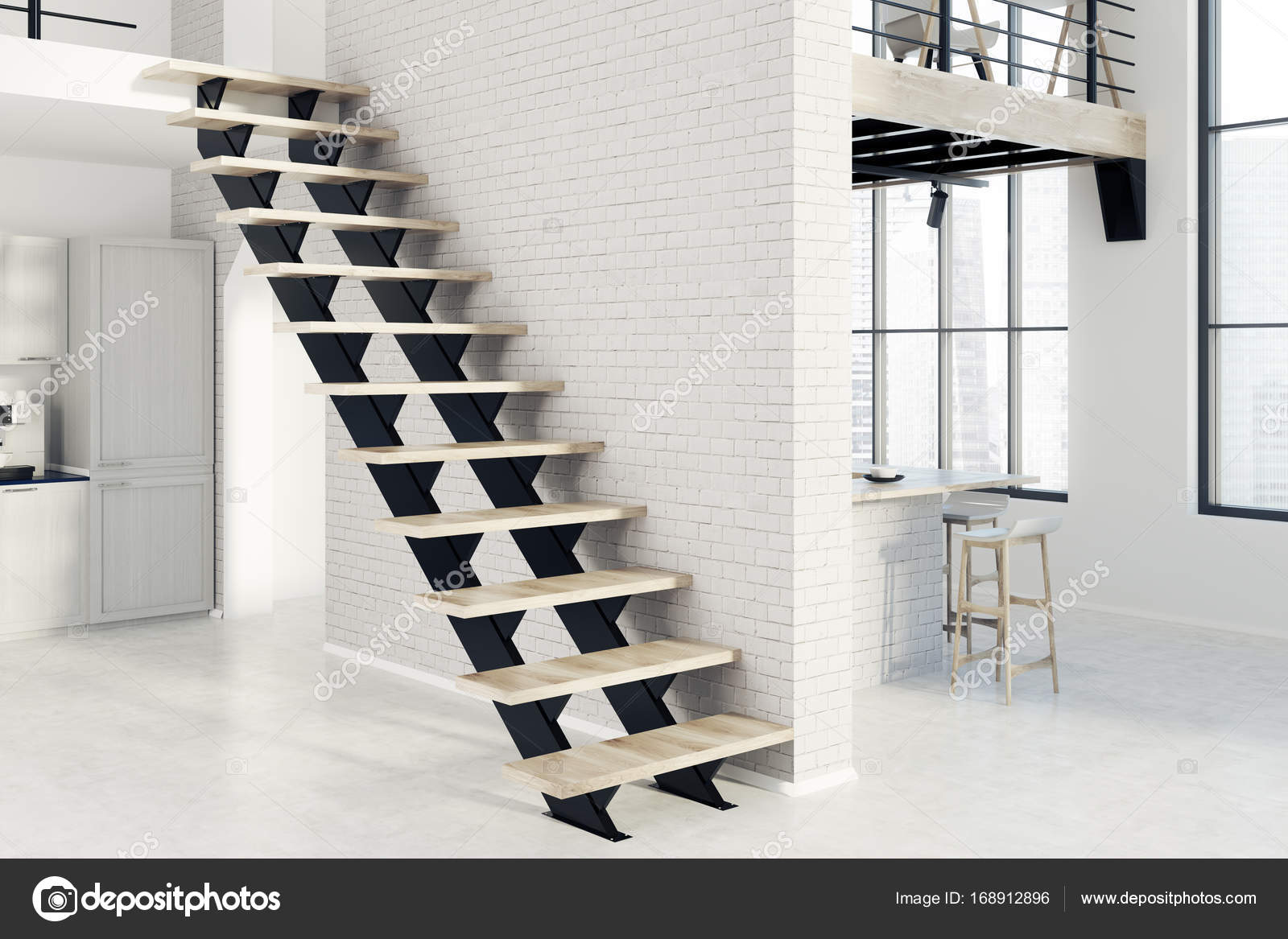 Escaliers en brique blanche cuisine, noir, vue latérale ...