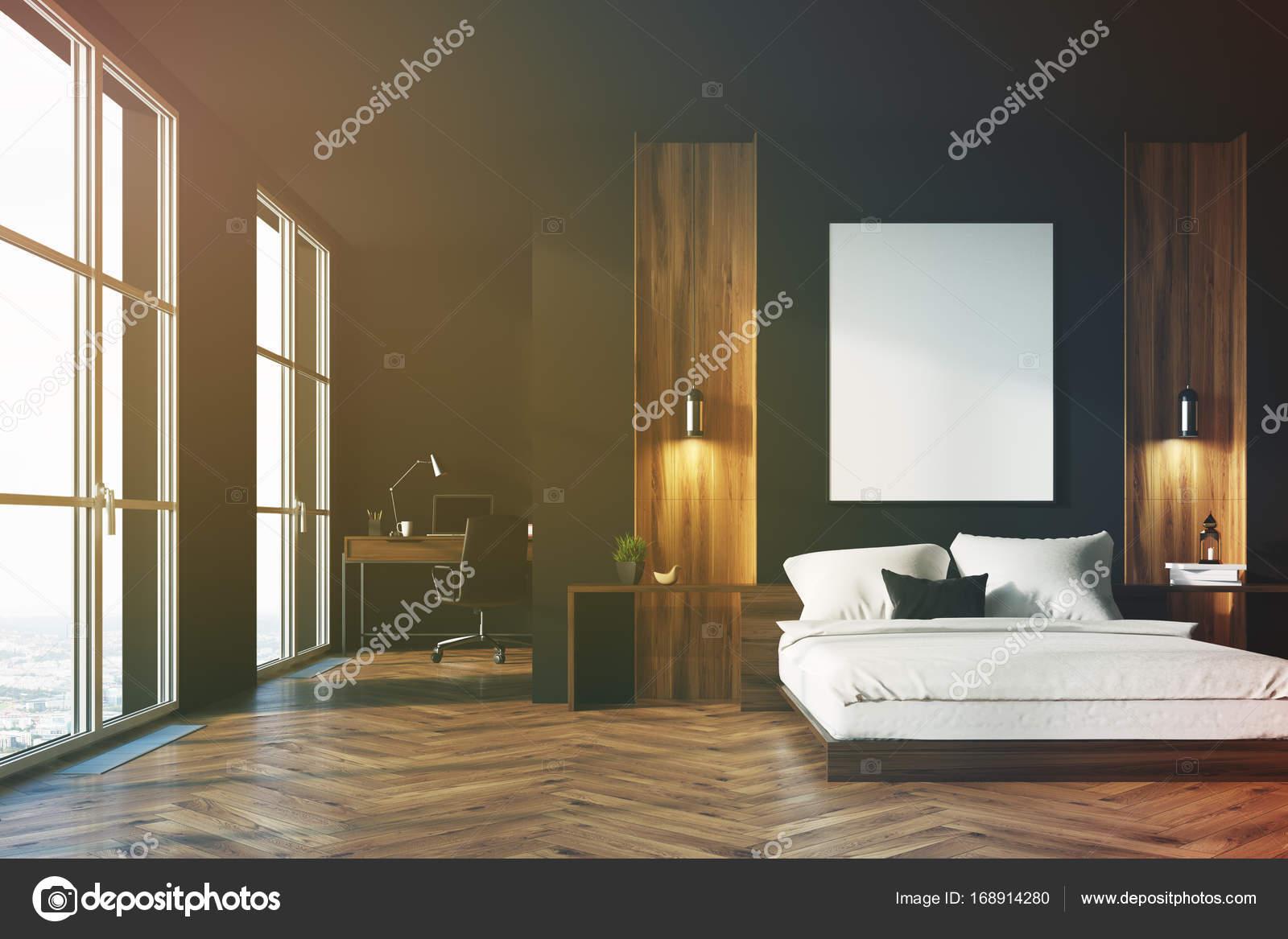 Zwart en houten slaapkamer, kantoor aan huis — Stockfoto ...