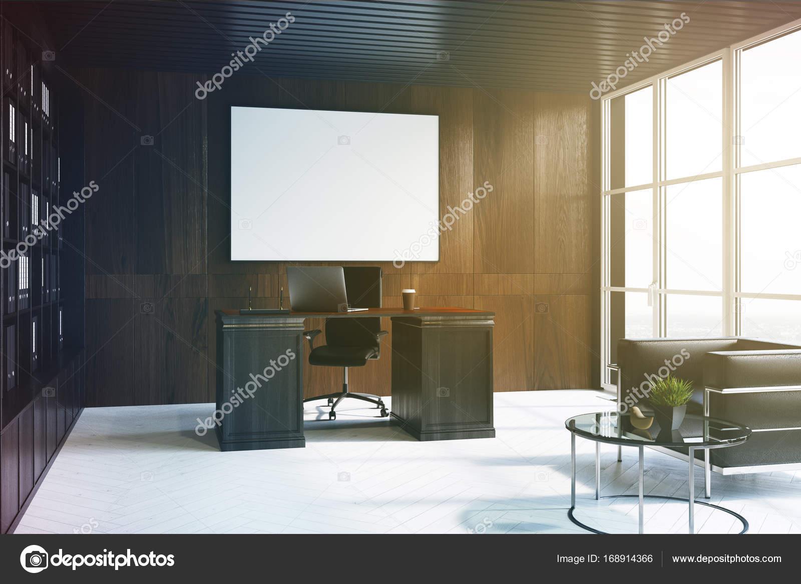 Lintérieur sombre bois bureau de directeur général affiche côté