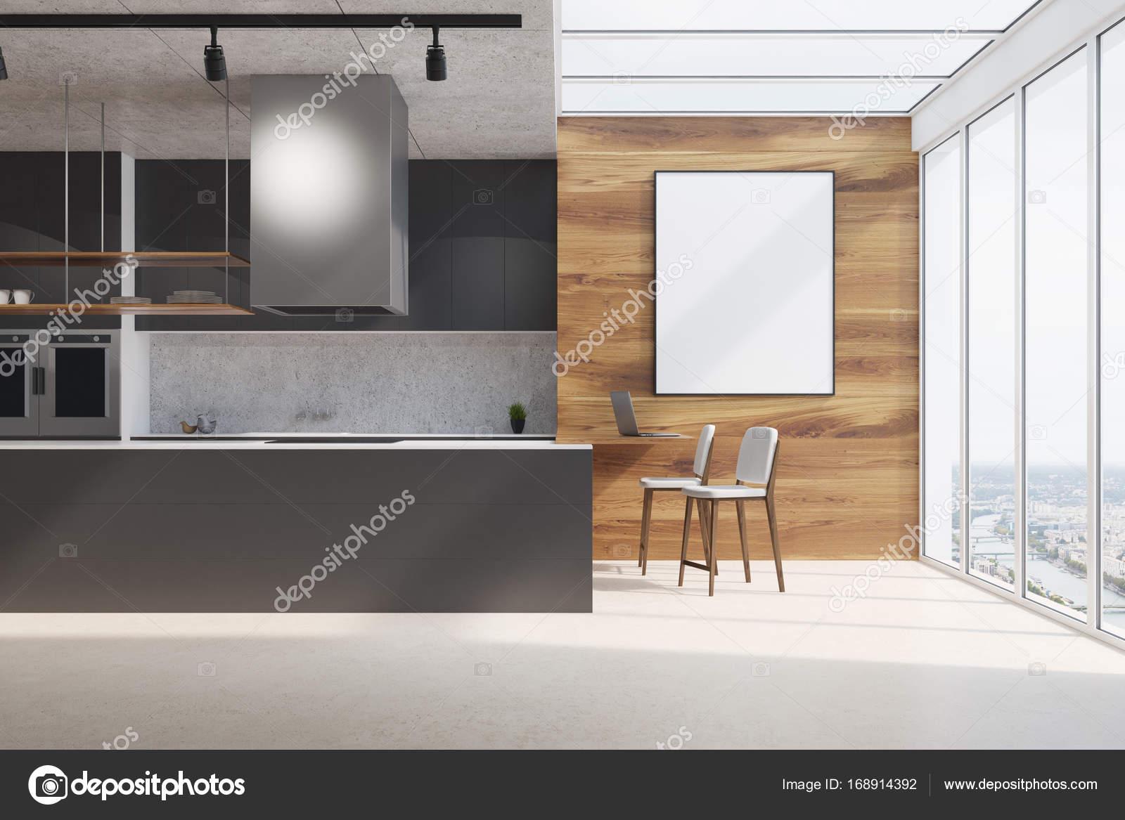 Hout En Beton : Zwarte aanrecht hout en beton poster u stockfoto