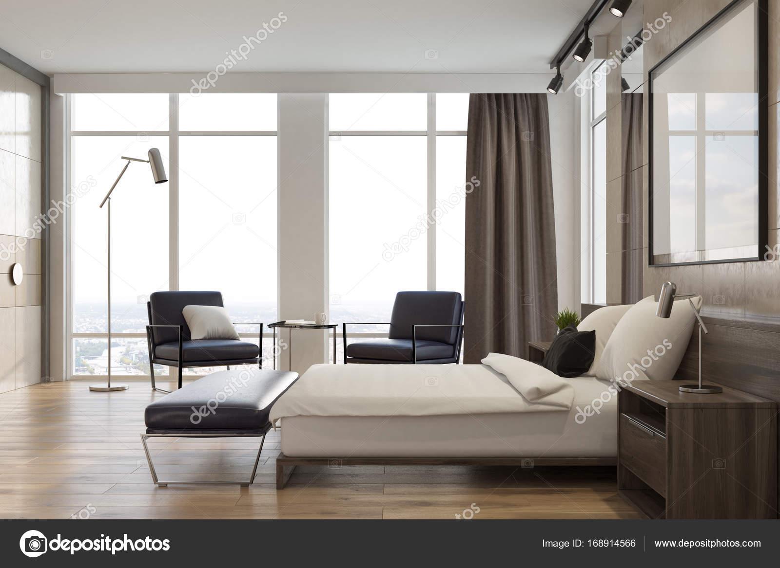 Licht Grau Schlafzimmer Interior, Poster, Seitenansicht U2014 Stockfoto