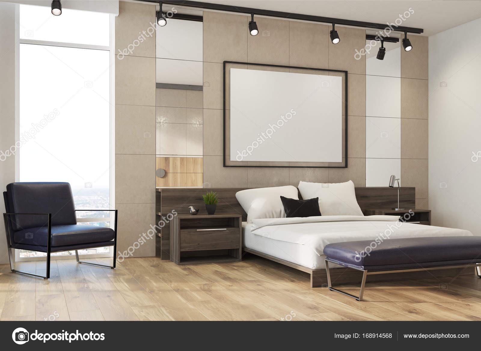 Licht grau Schlafzimmer interior, Poster, Sessel — Stockfoto ...