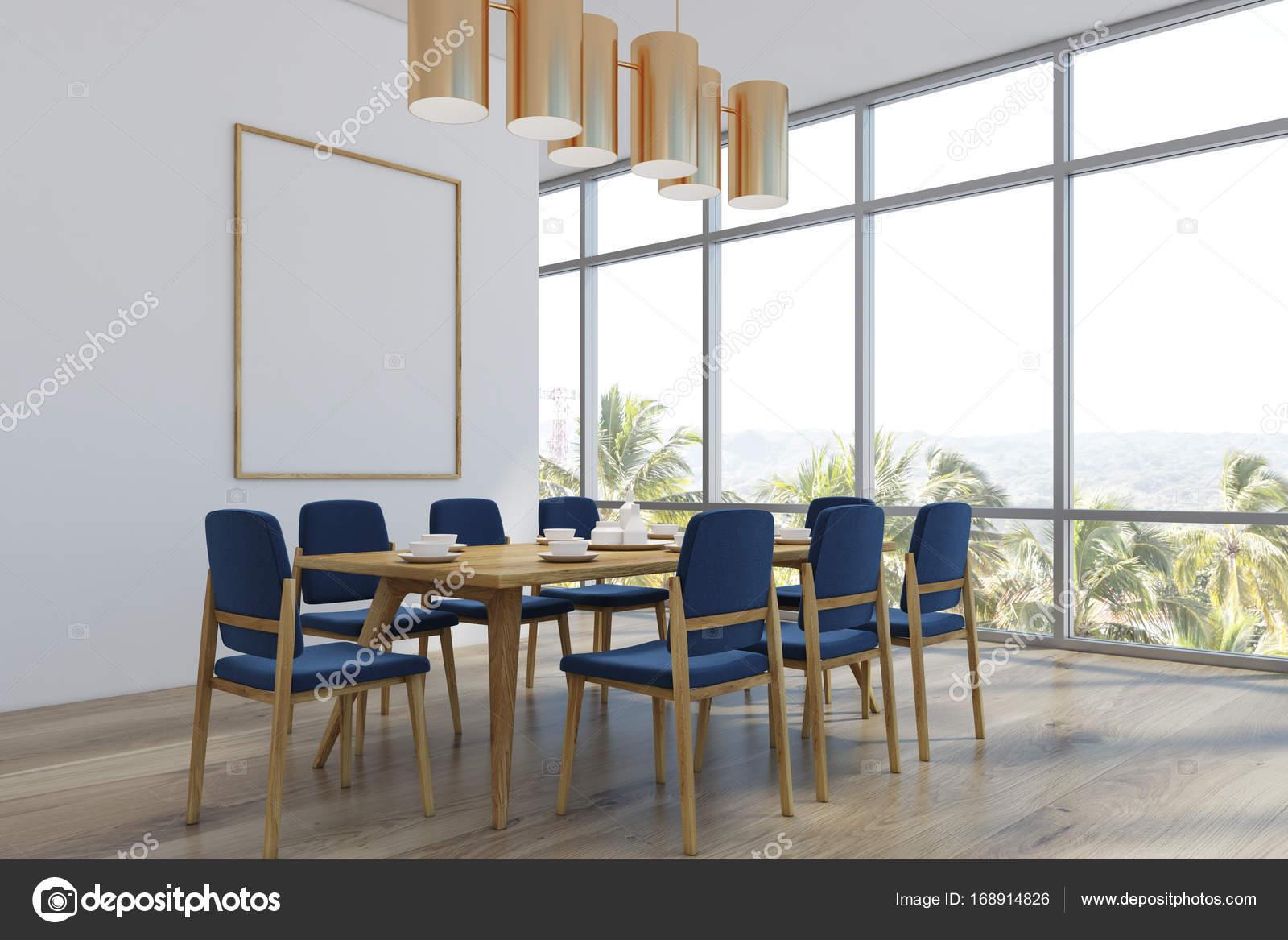 Ein Langer Tisch Mit Blauen Stühlen Und Ein Poster An Der Wand. Ecke.  3D Rendering Mock Up U2014 Foto Von Denisismagilov