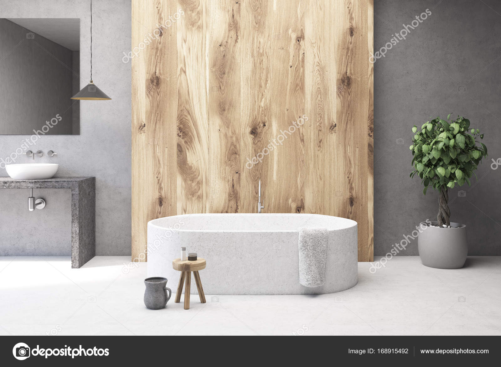 Concrete and wooden bathroom interior, tub — Stock Photo ...