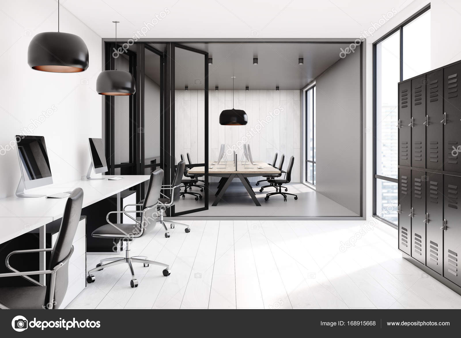 Open Space Office Interior With Gray And White Walls Black Lockers Rows Of Computer Tables On A Floor 3d Rendering Mock Up Photo By