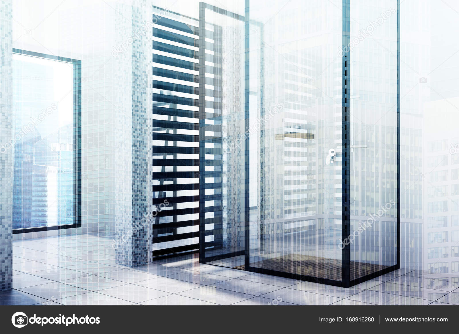 White tiled bathroom, glass shower, side toned — Stock Photo ...