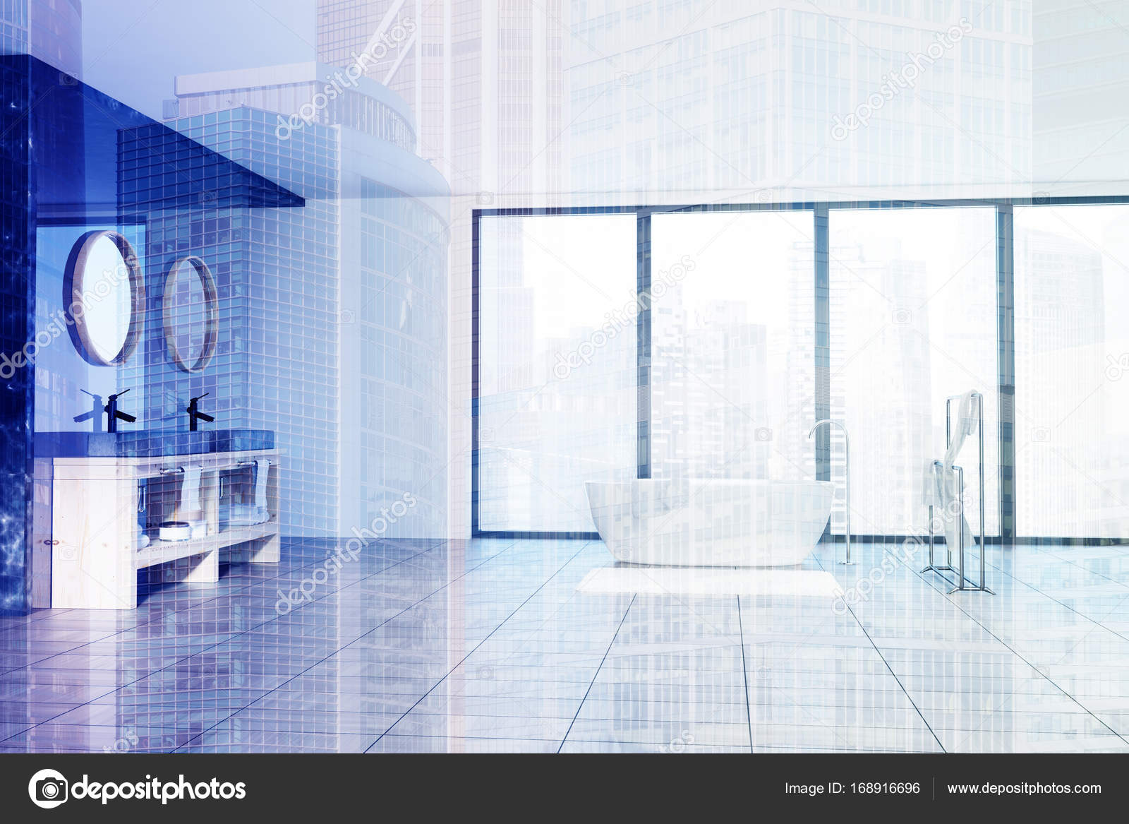Marble bathroom interior, a tub and sinks toned — Stock Photo ...