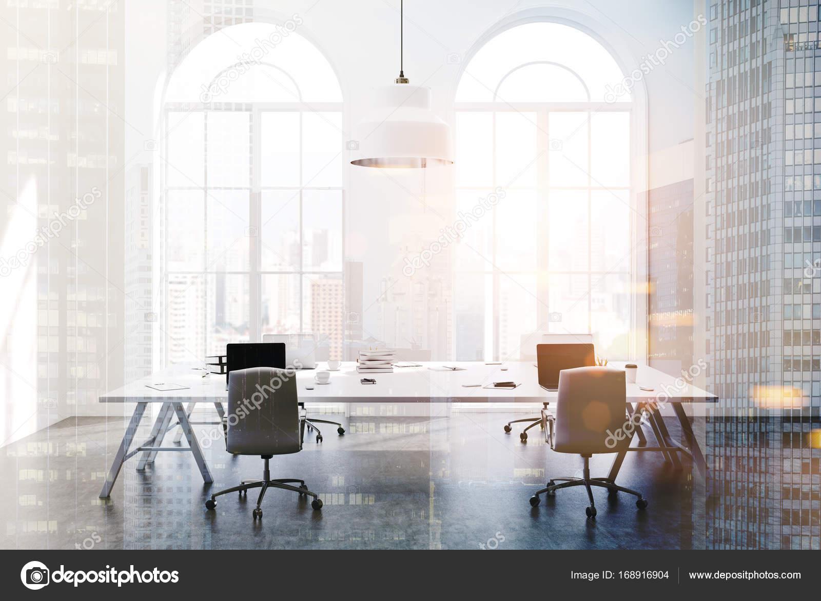 Blanc bureau espace ouvert vue latérale double u photographie