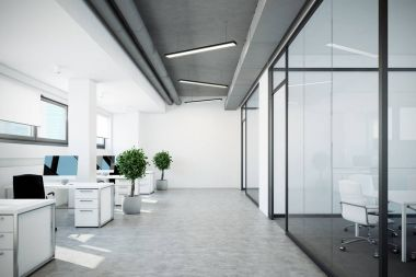 Open space office,glass and white walls