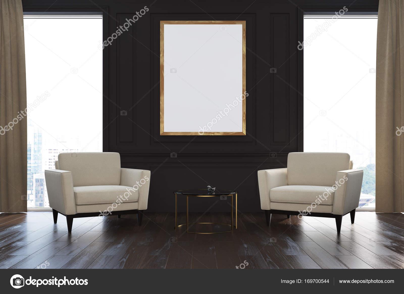 Zwarte woonkamer, Fauteuils, poster — Stockfoto © denisismagilov ...