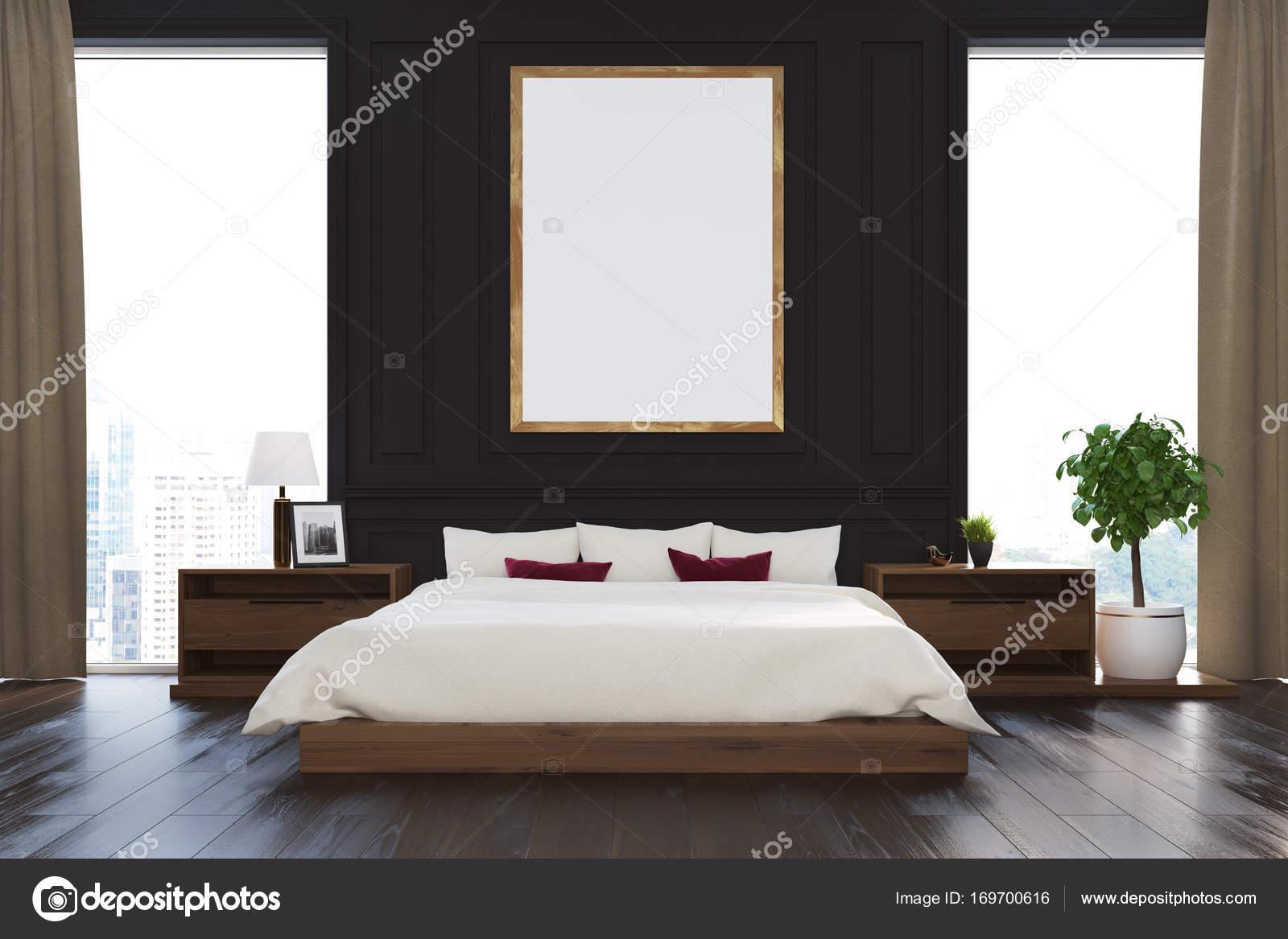 Zwarte loft slaapkamer, poster — Stockfoto © denisismagilov #169700616