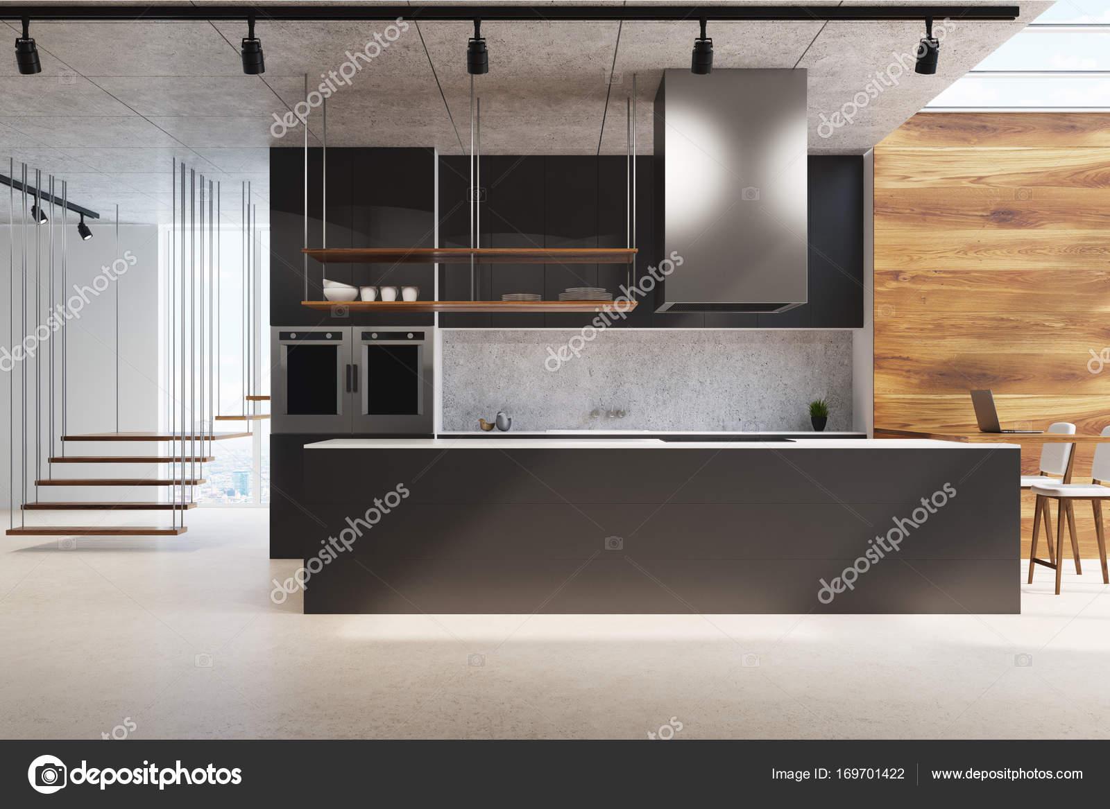 Czarna Kuchnia Counter Drewna I Betonu Zdjęcie Stockowe