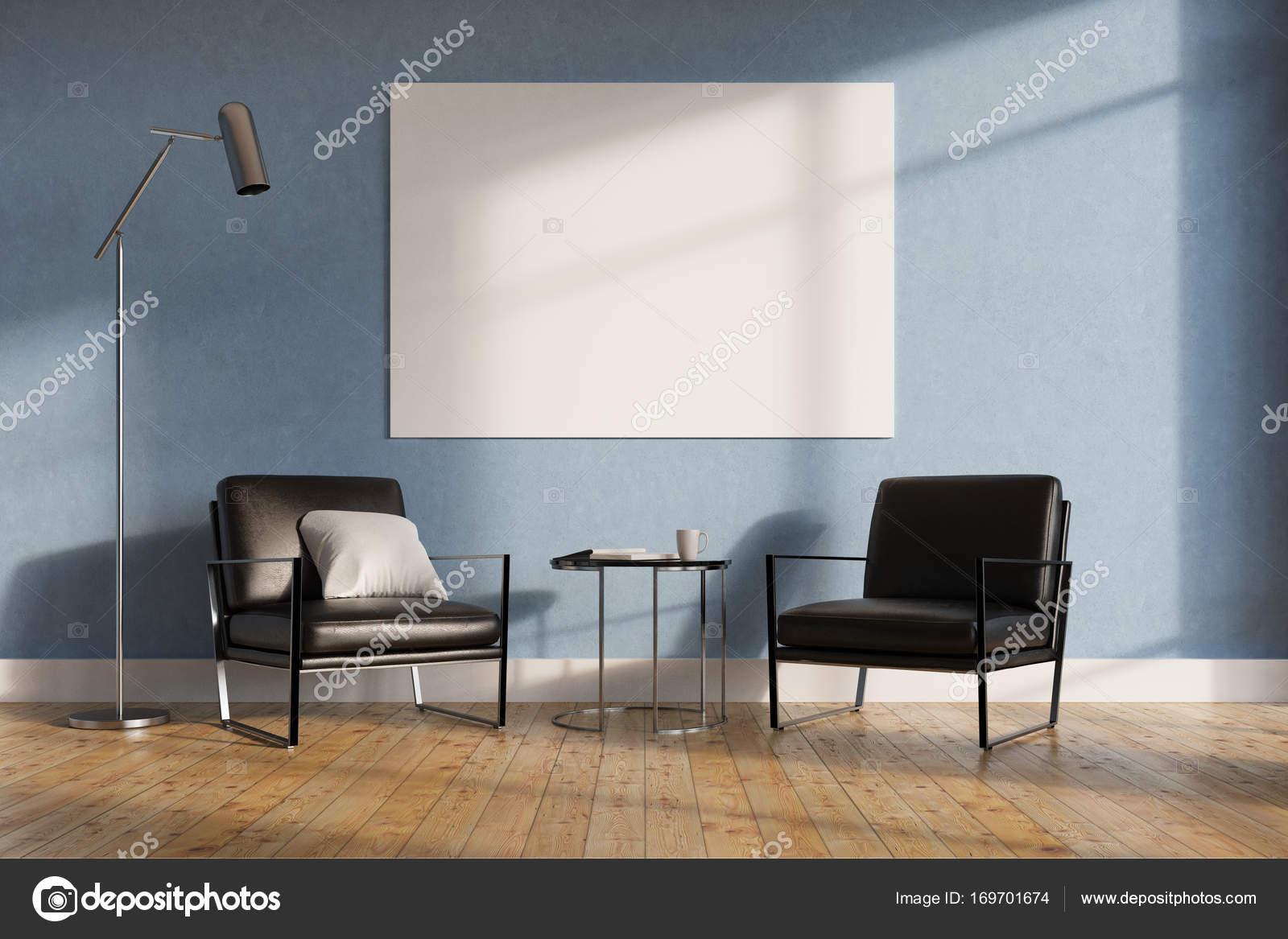 Minimalistisch Wohnzimmer Schwarz Sessel Stockfoto