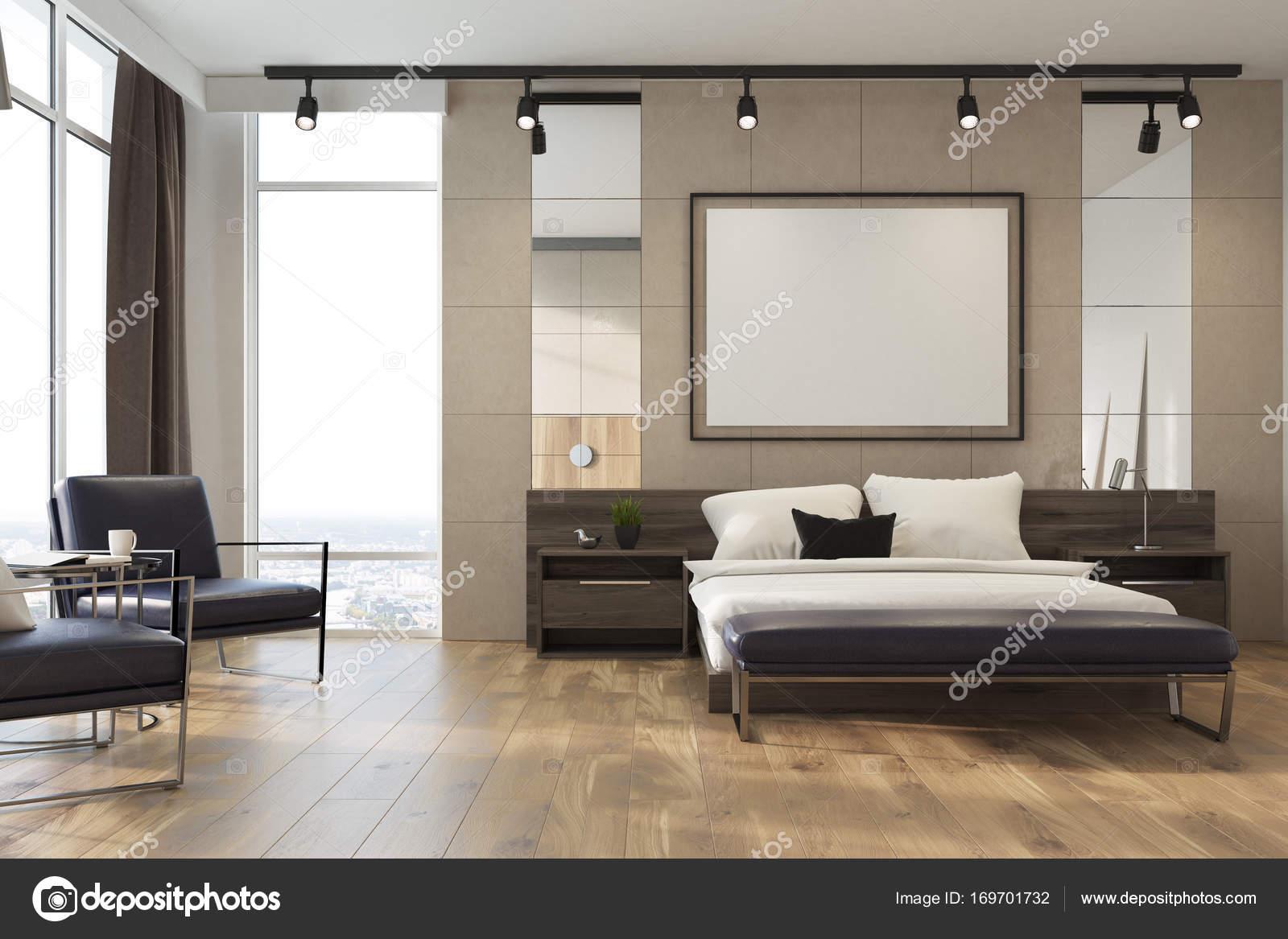 Beige Loft-Schlafzimmer, Plakat-Seite — Stockfoto © denisismagilov ...