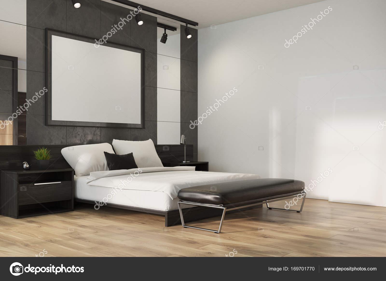 grijze loft slaapkamer poster hoek stockfoto