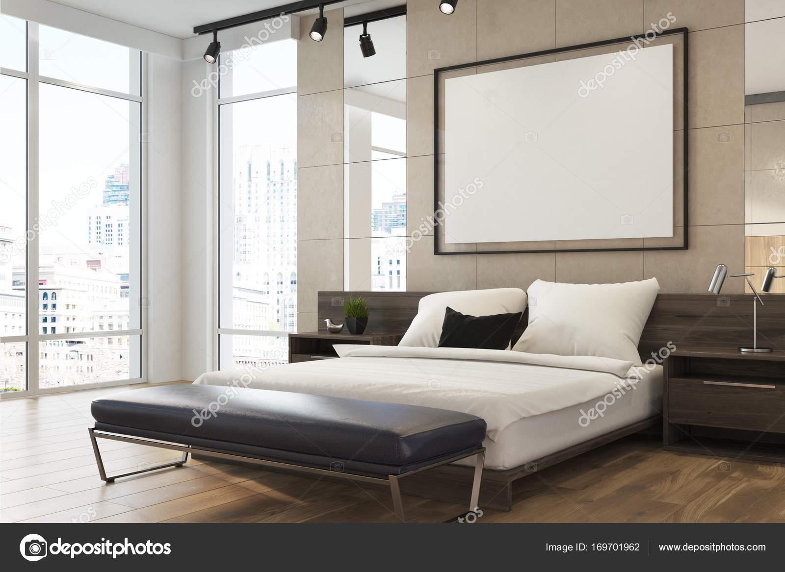 Poster interni, camera da letto elegante beige — Foto Stock ...