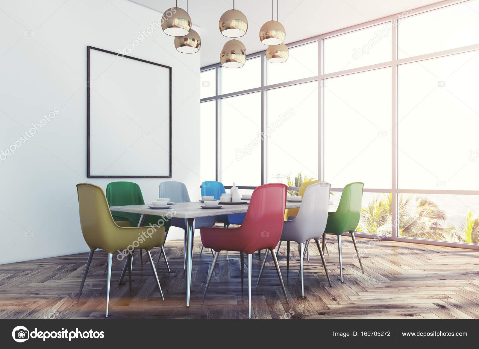 Tavolo Con Sedie Colorate.Dining Room With Colorful Chairs Corner Toned Stock Photo
