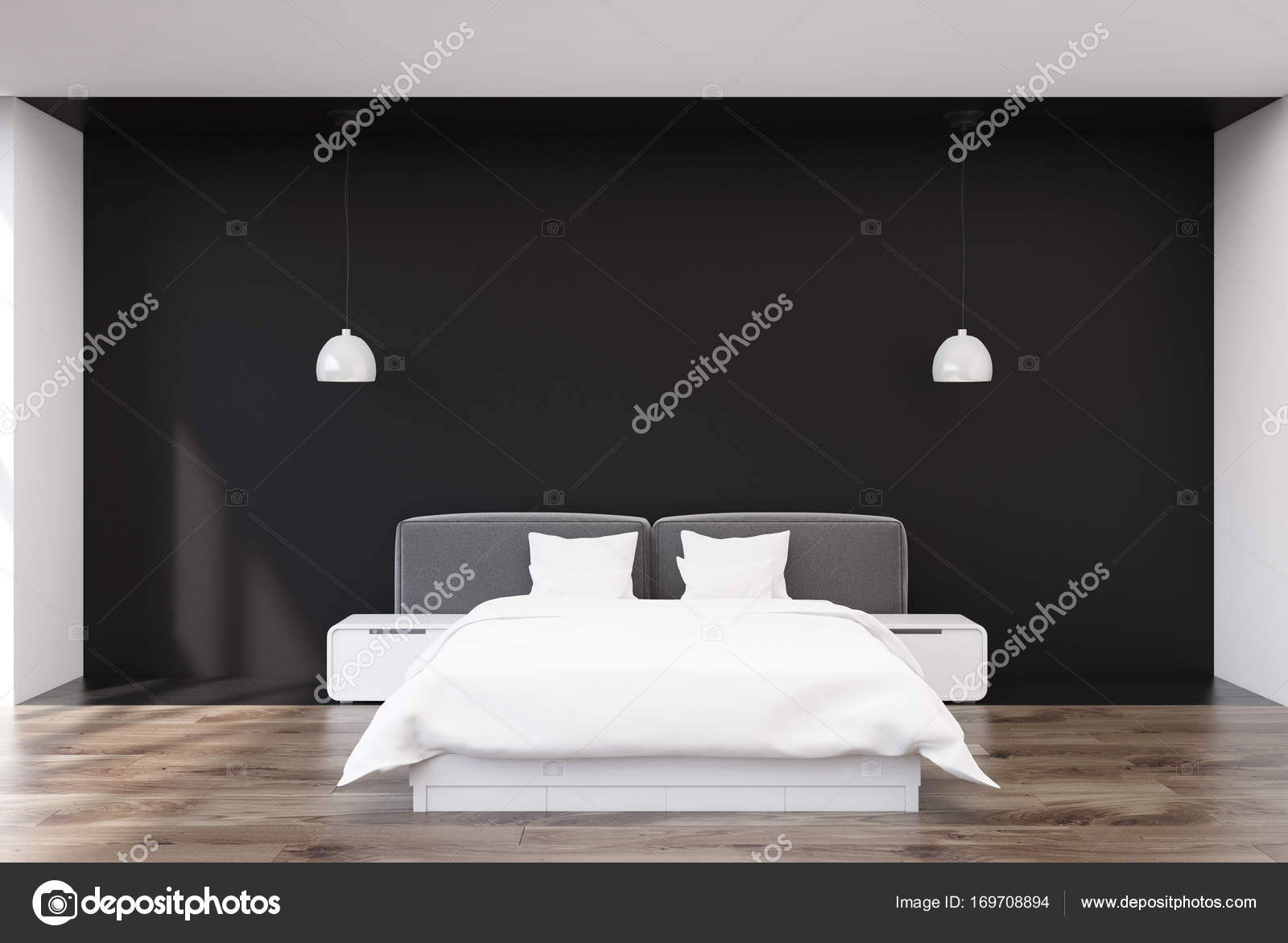 Interno camera da letto nera — Foto Stock © denisismagilov ...