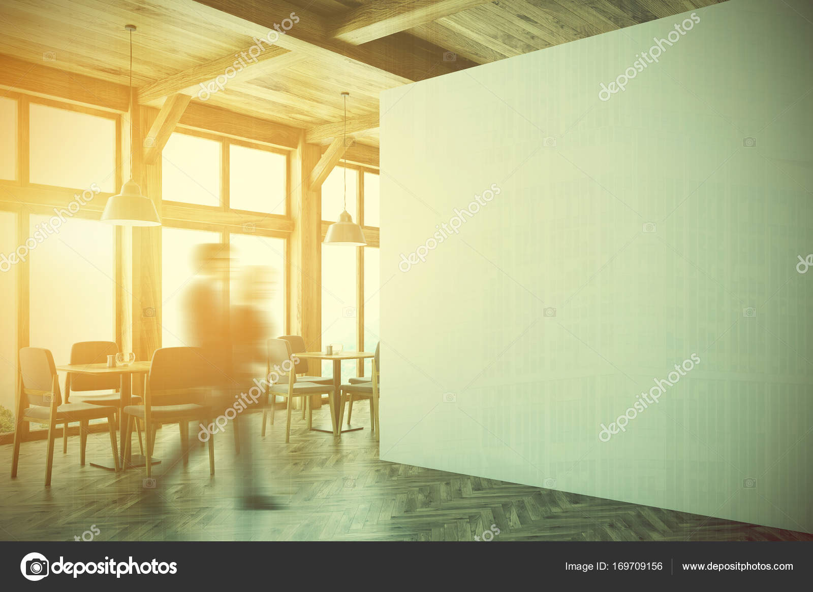 Wooden cafe interior, white wall side toned — Stock Photo ...