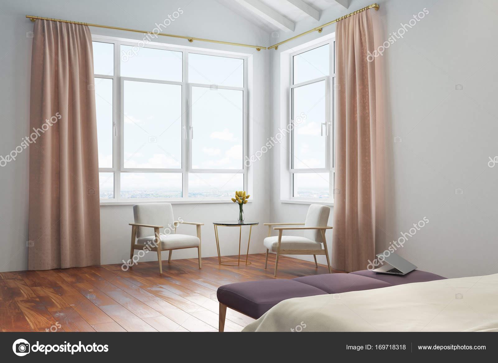 Tende camera da letto bianca, pesca — Foto Stock © denisismagilov ...