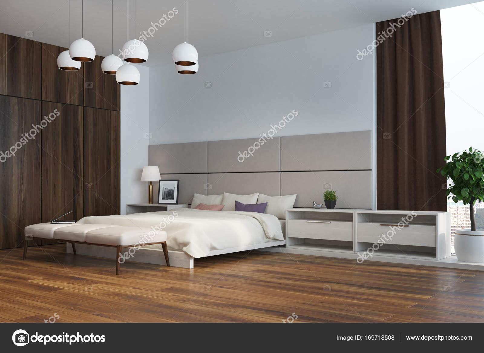 Wzór W Biało Beżowa Sypialnia Kącik Zdjęcie Stockowe