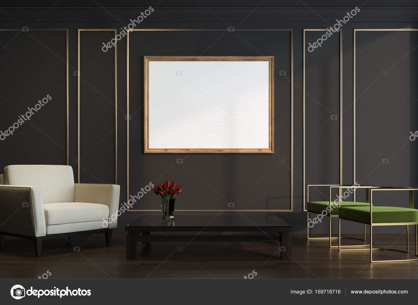Schwarz und Gold, Wohnzimmer, Sessel, Plakat — Stockfoto ...