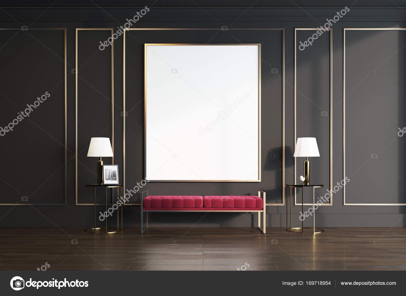 Schwarz Und Gold Wohnzimmer, Rote Bank U2014 Stockfoto