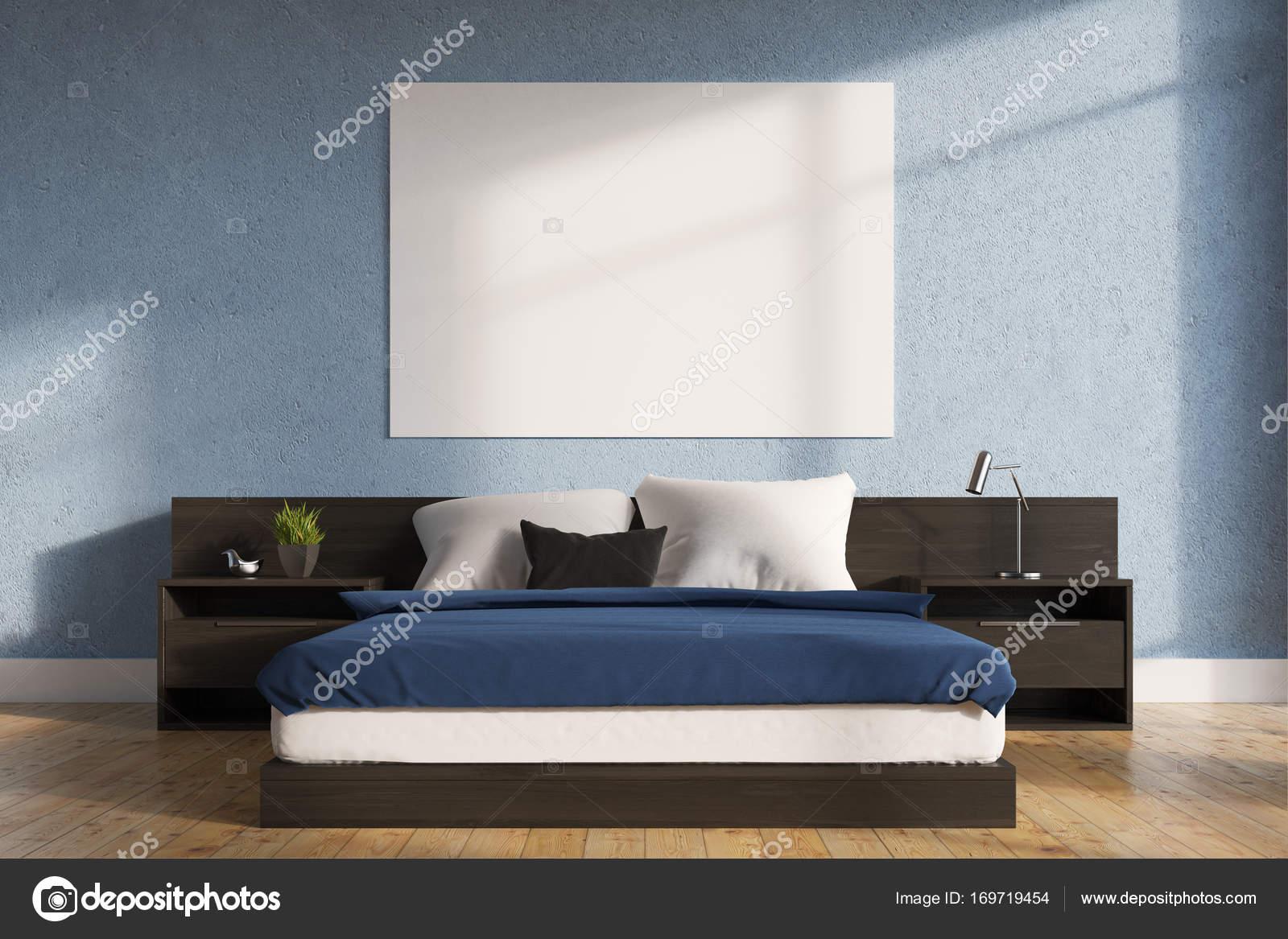 blauwe slaapkamer interieur poster stockfoto