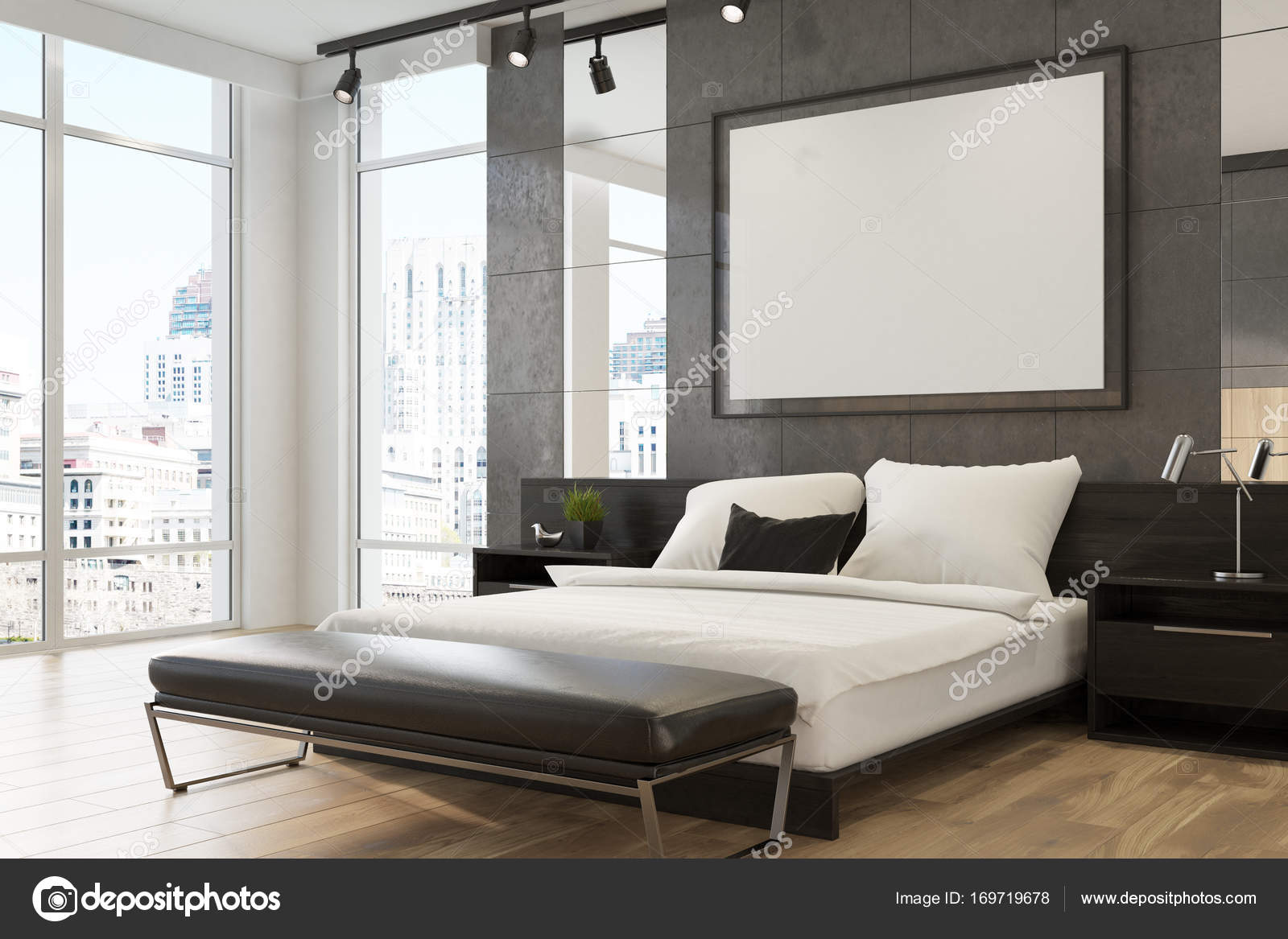 Grijze luxe slaapkamer interieur, poster — Stockfoto ...