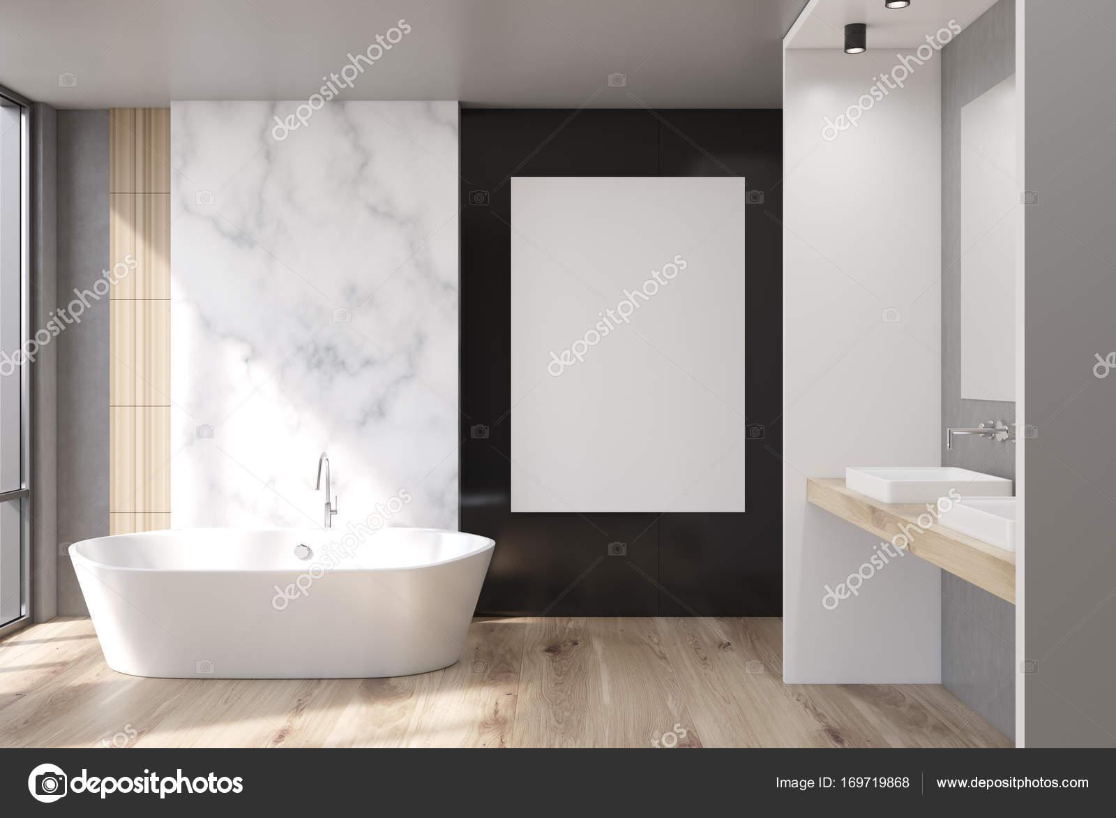 Mármol, cuarto de baño blanco y negro, cartel — Foto de stock ...