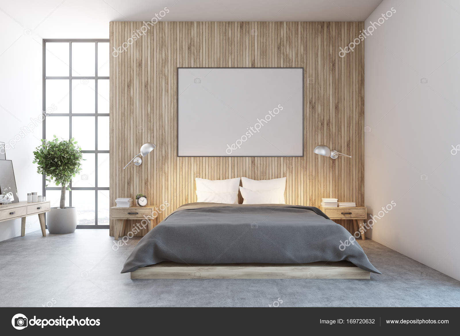Poster interni, camera da letto in legno — Foto Stock ...