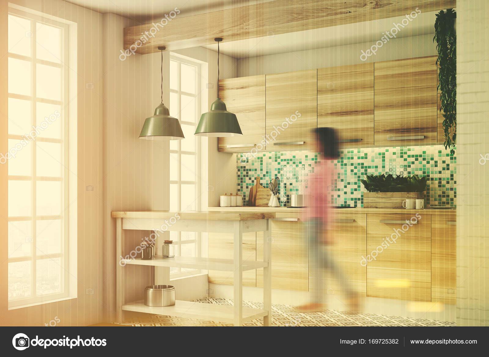 Grüne Küche, hölzernen Konsolen, Seite, getönt — Stockfoto ...