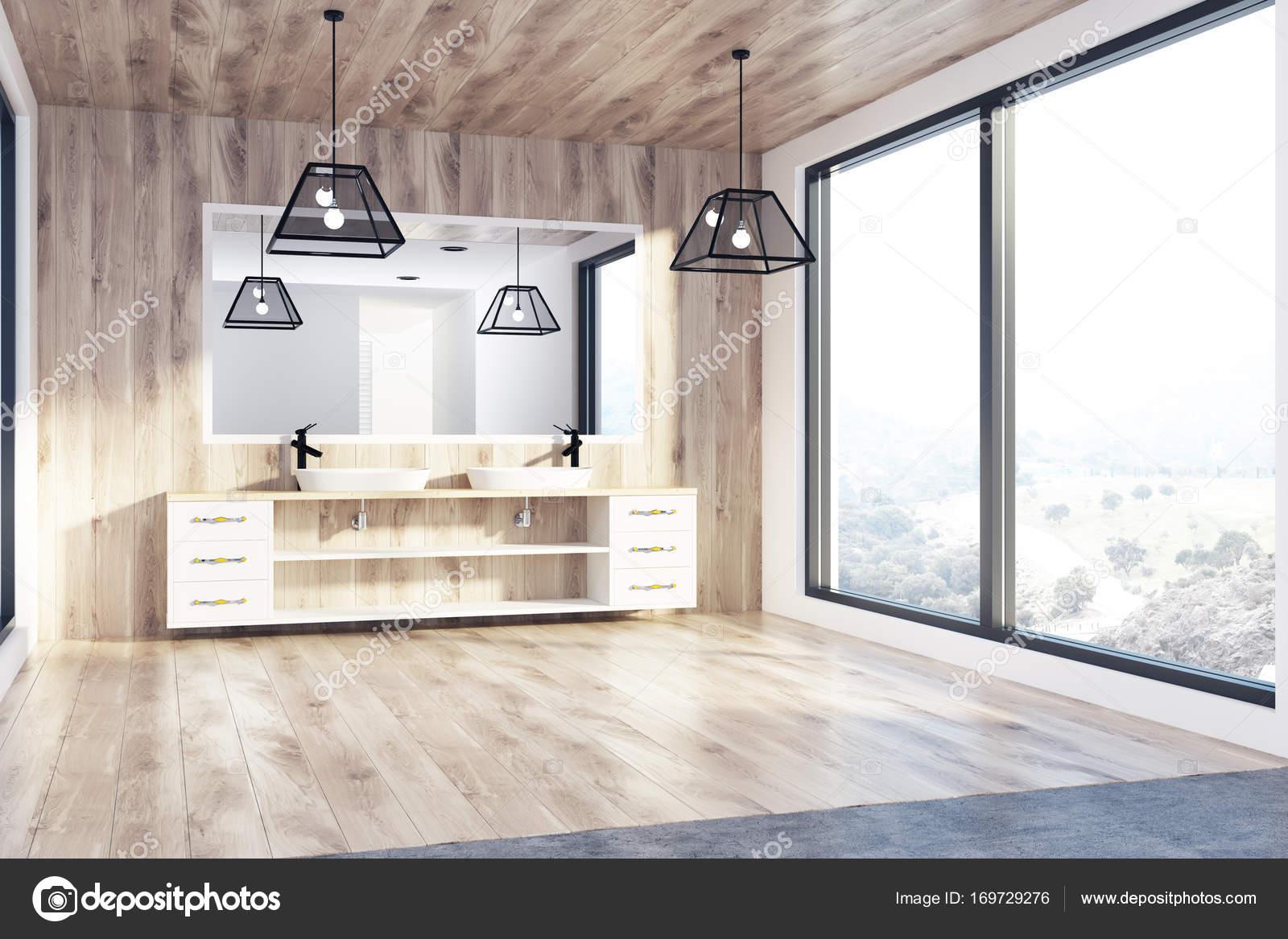 Soppalco in legno bagno doppio lavabo angolo u foto stock