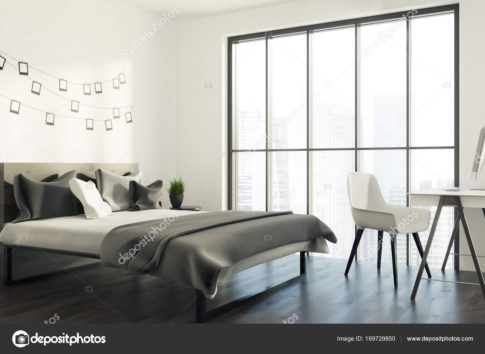 Chambre à coucher blanche avec coin photo galerie, gris ...