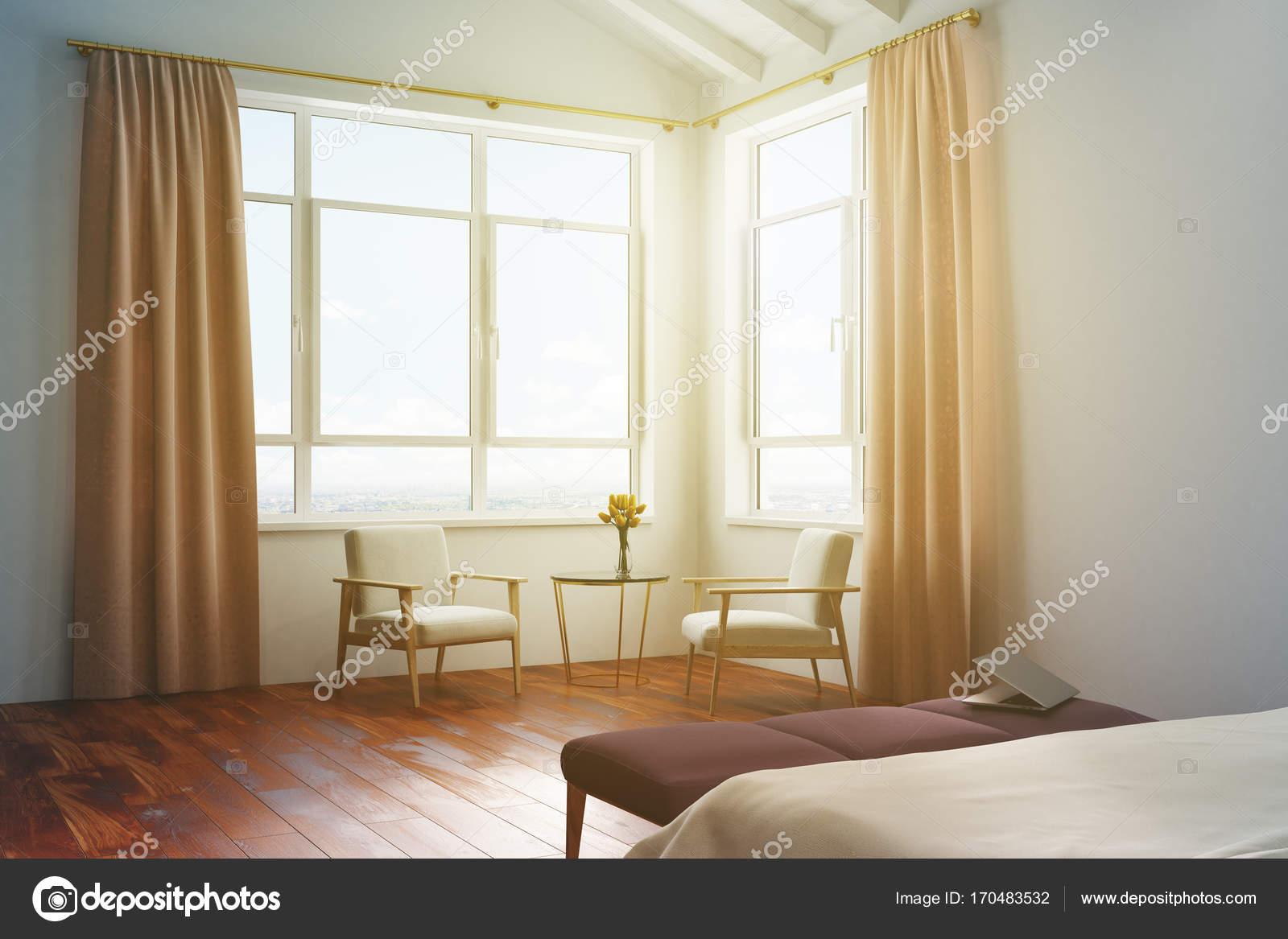 Tende camera da letto bianca, pesca tonica — Foto Stock ...