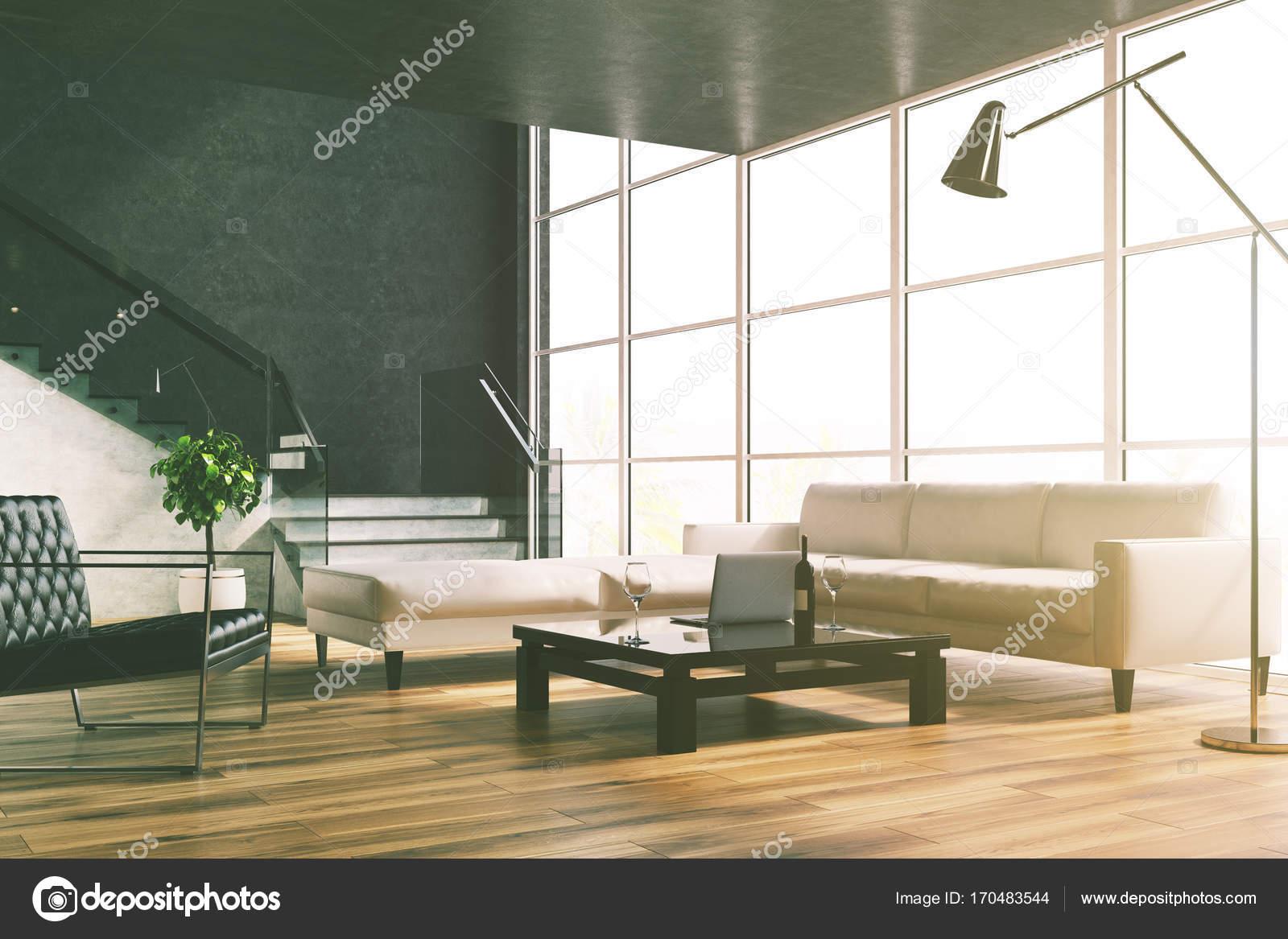 Zwarte woonkamer, trap, banken toned — Stockfoto © denisismagilov ...