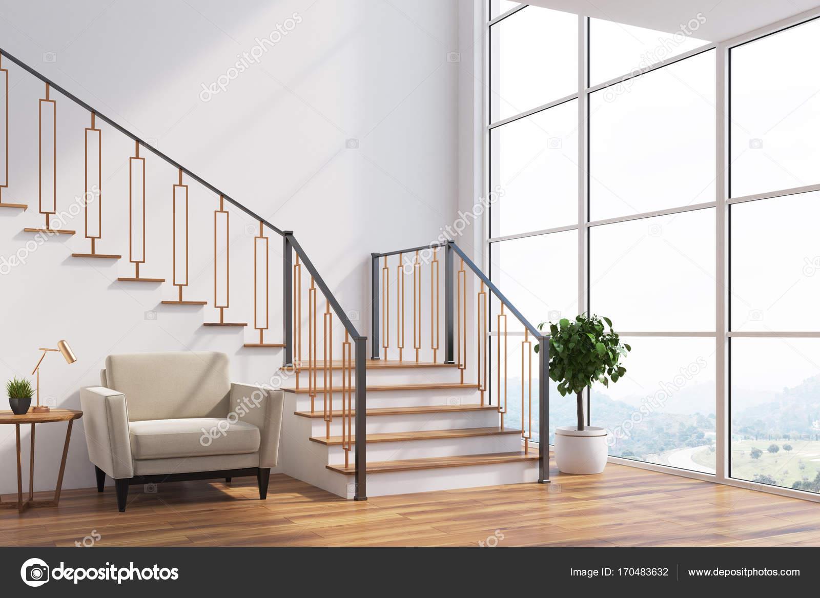 Weiße Wohnzimmer Interieur Mit Einer Treppe, Einem Weißen Sessel, Ein  Loft Fenster Und Eingemachten Baum. Seitenansicht. 3D Rendering Mock Up U2014  Foto Von ...