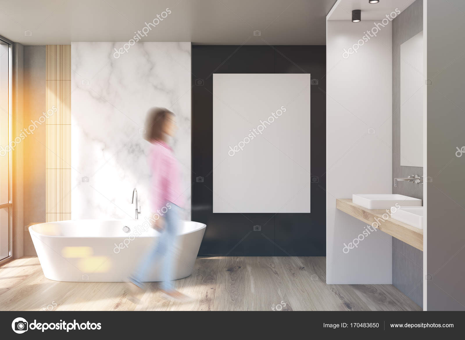 Badkamer Met Marmer : De badkamer van marmer wit en zwart poster meisje u stockfoto
