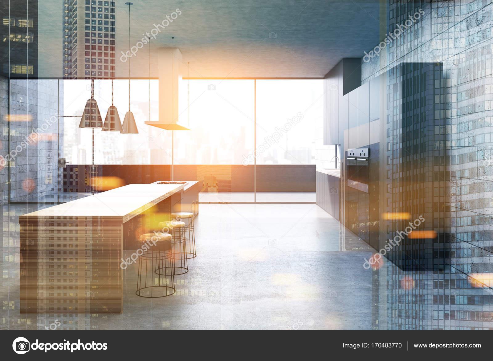 Konkrete Küche, schwarzen Schränke, Bar, getönt — Stockfoto ...