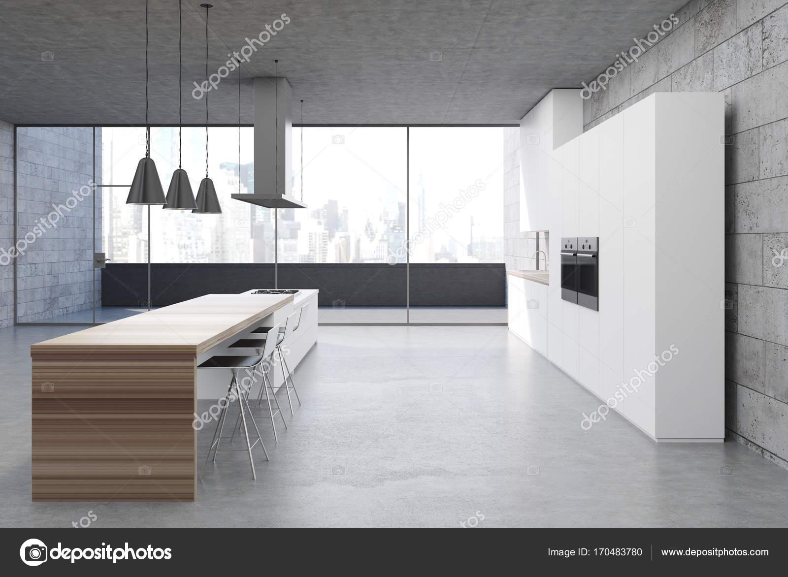 Konkrete Küche Interieur, weiße Schränke Seite — Stockfoto ...