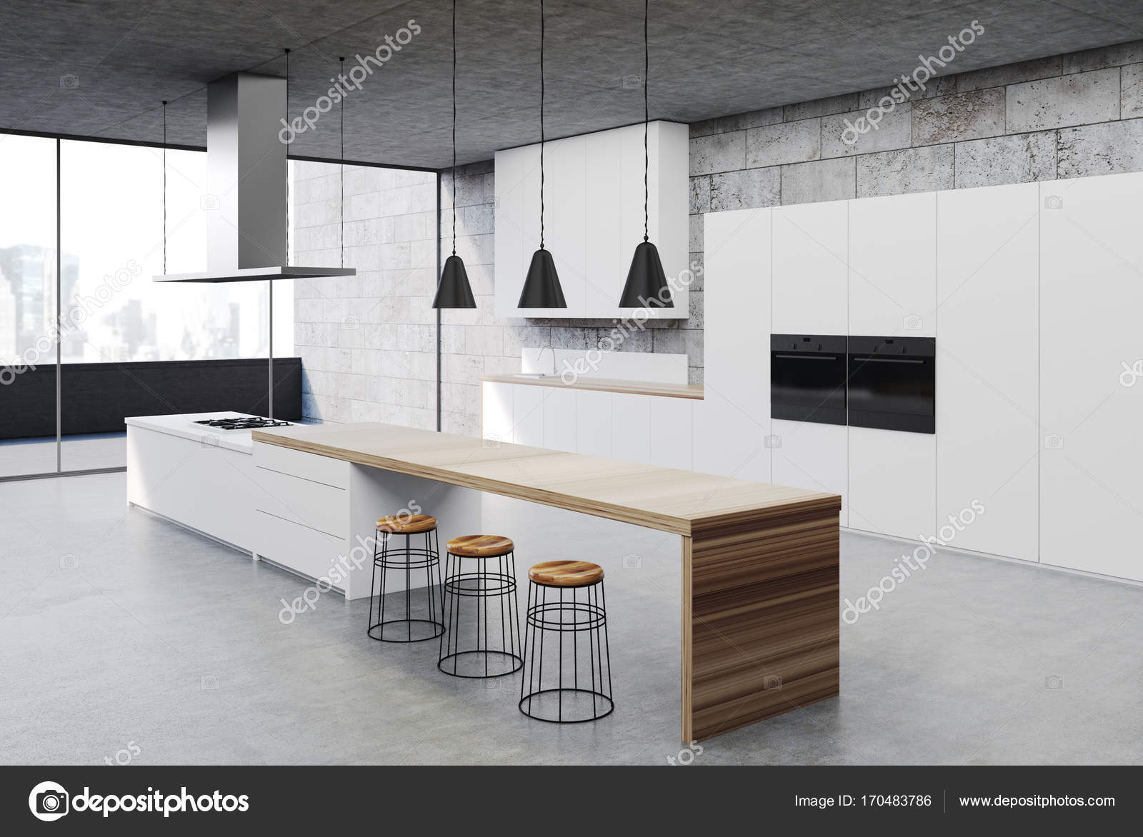 Konkrete Küche Interieur, weiße Schränke Ecke — Stockfoto ...