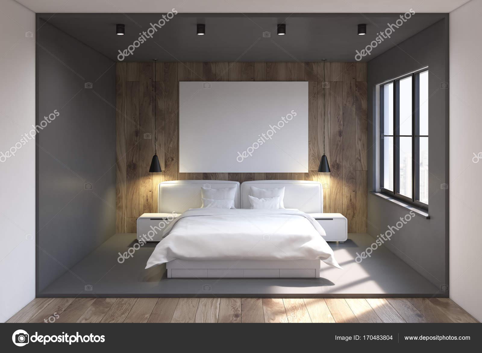 Slaapkamer Interieur Grijs : Grijs en houten slaapkamer interieur poster u stockfoto
