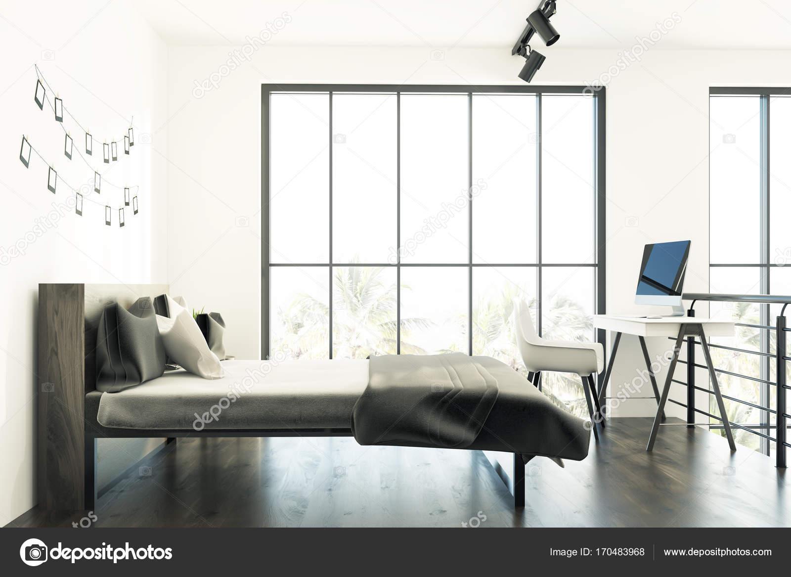 Weißes Schlafzimmer mit einer Foto-Galerie, graue Seite — Stockfoto ...